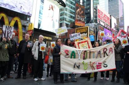 The march ended in Times Square (Photo: Kiyoko Horvath)